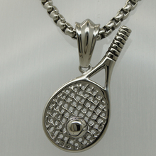 sporty tennis & tennis racket 60cm( 23.62'') 316L stainless steel vary width round box chain pendant necklace(China)