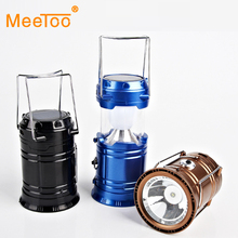 MeeToo Solar power lamp Luminaire Portable Led Exterieur Lamps Collapsible Flashlight Lantern Hanging Lamp camping recargable