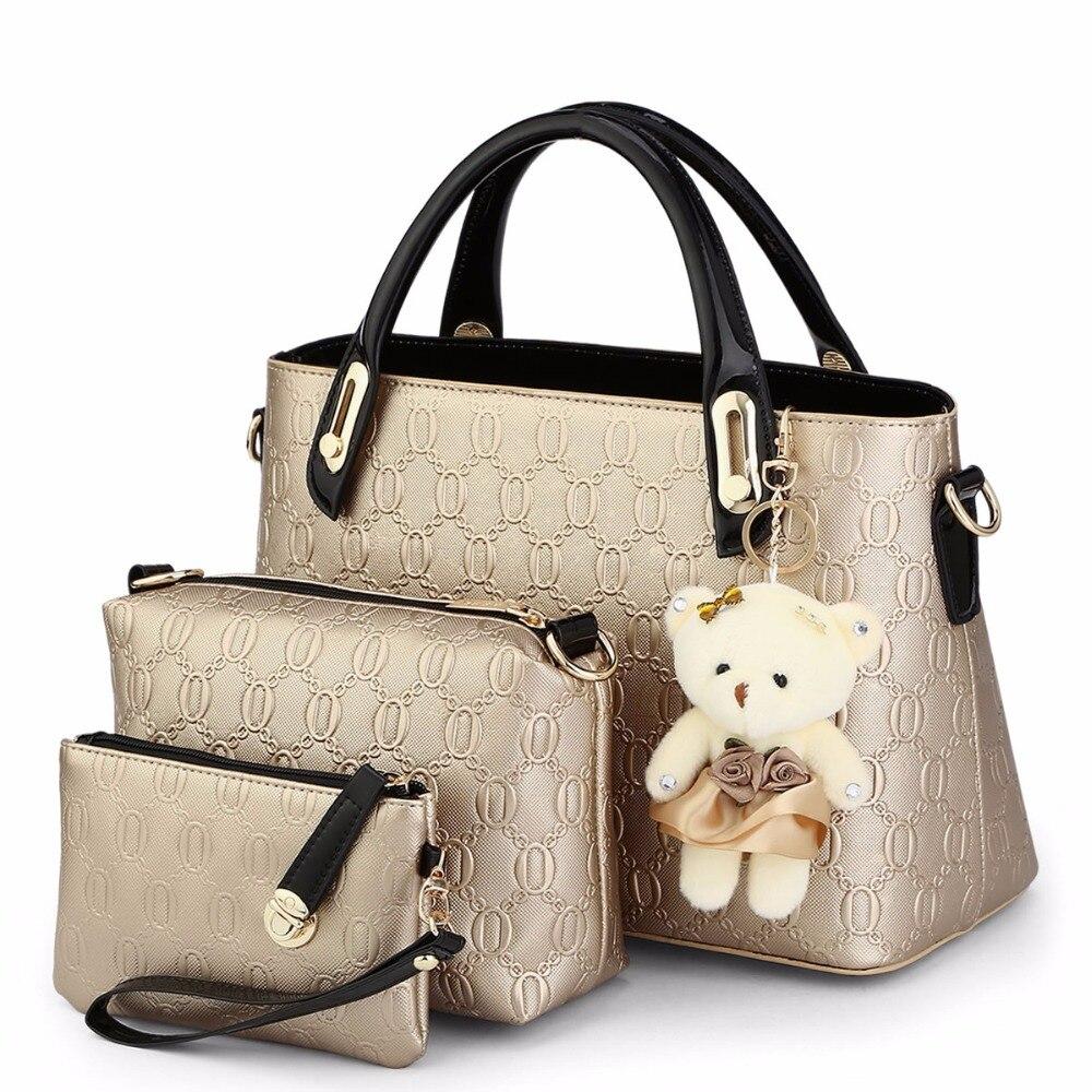 GUR283 Embossed women bag famous brands Shoulder Bag Designer Handbags High Quality Women Messenger Bags 3 Leather bags set 2017<br>