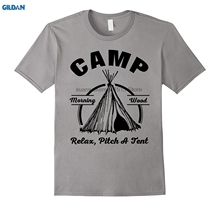 GILDAN 100% Cotton O-neck printed T-shirt Camp Morning Wood Relax Pitch A Tent Funny Gift Tees(China)