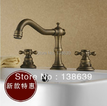Free shipping discounted antique bronze faucet,dual handles deck mounted basin vessel mixer tap,luxury bathroom faucet-9028