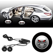 2Pcs 12V LED 7W Logo Door Light Car door Led Auto Welcome Lamp Auto Laser Projector Logo Ghost Shadow Light 3D For SKULL Skeleto(China)