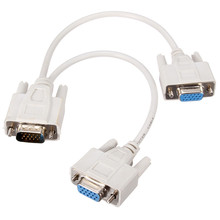 15Pin 1 Male VGA to 2 Female VGA Y Splitter Cable Cord 2 Way VGA SVGA Monitor Dual Video Graphic LCD TFT Cable Wire White Color(China)