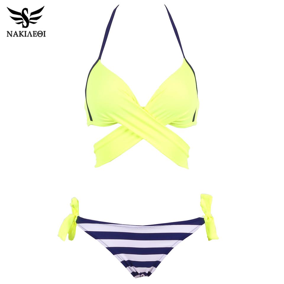 NAKIAEOI 19 Sexy Bikini Women Swimsuit Push Up Swimwear Criss Cross Bandage Halter Bikini Set Beach Bathing Suit Swim Wear XXL 21
