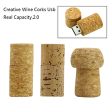 Wine Bottle Stopper Wood Cork USB Flash Drive 4GB 8G 16G 32GB 64GB 128GB Pen Drive Pendrive Memory Stick Pendrive Gifts for PC