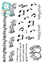 Rocooart SC2973 Large Taty Sketch Black White Music Notes Water Transfer Body Art Temporary Tattoo Stickers Fake Tatoos tatouage(China)