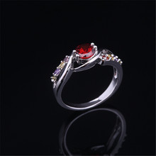 ZHE FAN Red Colorful Rings Round Shaped Rhodium Plated Fashion Show Party Accessories Gorgeous AAA Cubic Zirconia 4 Claws Ring(China)