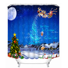 3D Shower Curtain Sky Blue Santa Claus Pattern Waterproof Washable Thickened Bathroom Curtains Partition Merry Christmas Gifts