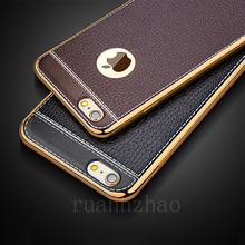 Luxury Litchi Pattern Soft Silicone Cases for iPhone 8 Case Leather 5 5s se 6s 7 Plus Vintage plating Cover for iPhone x case(China)