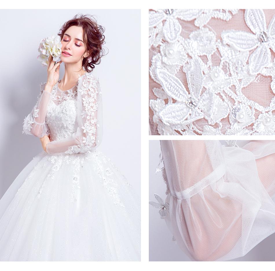 Angel Wedding Dress Marriage Bride Bridal Gown Vestido De Noiva 2017 Sweet, lace, flowers, long sleeves, 6011 11