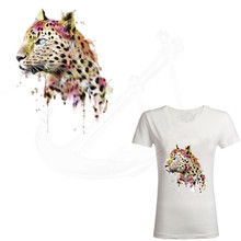 New Pretty Pink leopard patches 26*22.48cm T-shirt Dresses Sweater thermal transfer Patch for clothing By Household Irons(China)