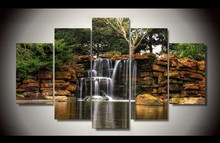 Framed Printed beautiful small waterfall 5 piece painting wall art children's room decor poster canvas Free shipping F/1370(China)