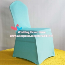 100pcs Extra Thick Tiffany Blue Wedding Spandex Lycra Stretch Chair Covers For Hotel Banquet Event Decoration