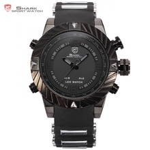 Goblin Shark Sport Watch 3D Logo Dual Movement Waterproof Full Black Analog Silicone Strap Fashion Men Casual Wristwatch / SH165(China)