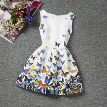 2017 Summer Girl Dress Floral Print Kids Dresses For Girls Party Wear Princess Girl Clothes For 6 7 8 10 12 Year Birthday Dress