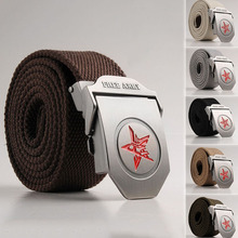 Men's Canvas Thickened Belts Waist Strap Red Star Metal Buckle Waistband Casual
