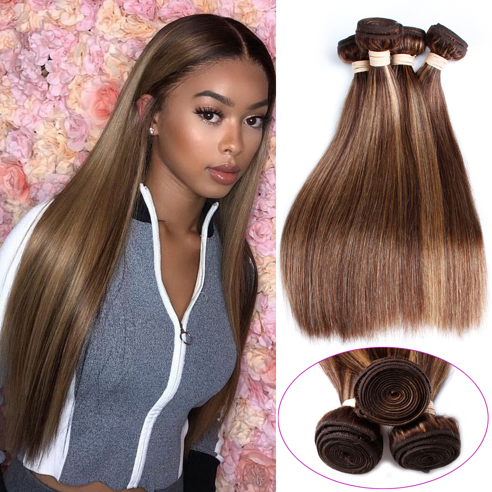 BEAUDIVA Weave Human-Hair Straight 4-Bundles Brazilian Hair-P4/27 Pre-Colored 3 title=