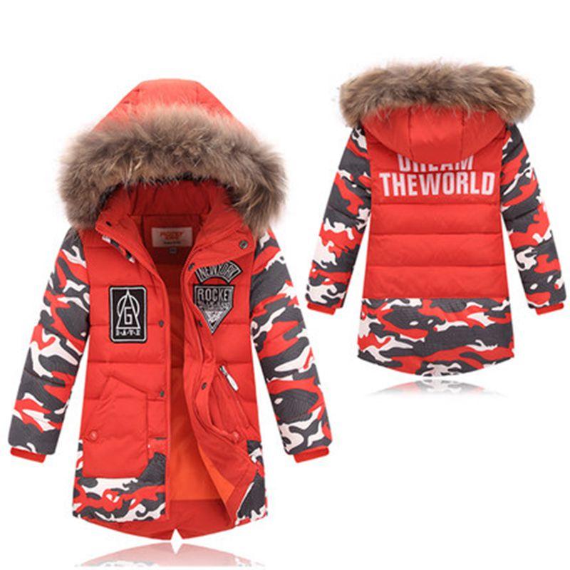 Kids Long Parkas For Boys Fur Hooded Coat White Duck Down Jacket Camo Boys Winter Coats Children Outwear Casaco Menino  TZ97<br>