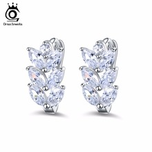 ORSA JEWELS 2017 Silver Color Earrings Leaf Style Marquise Cut AAA Austrian Clear Zircon Women Fashion Earring Stud OME03(China)