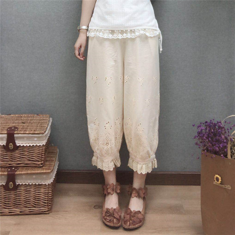 2019 summer Retro cotton embroidered openwork stitching lace bloomers pants Basic models female