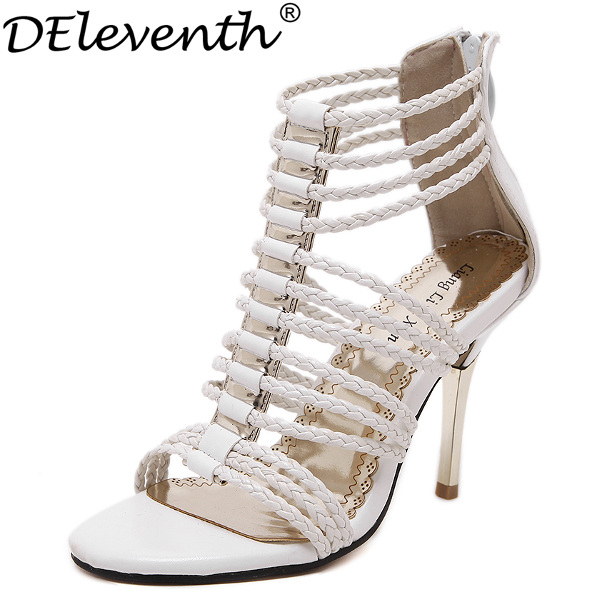 2017 Summer New Fashion Cut-Outs Back Zipper Thin High Heels Shoes Woman Fretwork Sexy Sandals Zapatos Mujer Black White US5~8.5<br><br>Aliexpress
