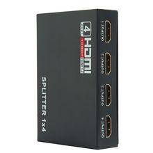 Full HD HDMI Splitter 1X4 4 Port Hub Repeater Amplifier v1.4 3D 1080p 1 in 4 out With Power Supply