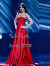 Miss America Sexy Red One Shoulder A-Line Floor Length Evening Dresses 2015 Sleeveless Ruched Side Slit Prom Dress