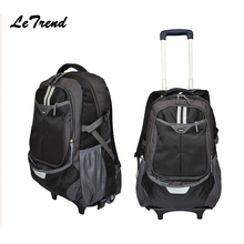 Letrend Hot Black Travel Bag On Wheel Trolley Business Rolling Luggage Spinner Women Carry On Cabin Luggage Backpack Suitcases