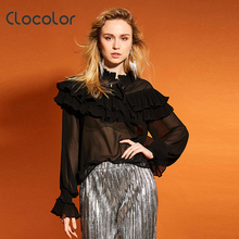 Buy Clocolor women Blouse ruffled collar pleated falbala shirt lantern sleeve patchwork top 2017 summer fashion sexy women blouse for $9.22 in AliExpress store