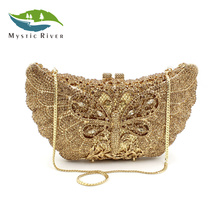 Mystic River Women Evening Crystal Bags Luxury Dragonfly Shape Party Wedding Purse Femal Diamonds Gold Party Clutches