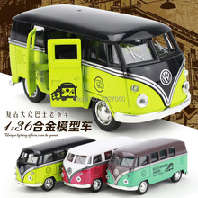 1:36 alloy VW Classical Mini Campus Bus toys kawaii Diecast Model toy cars for children christmas gift one piece(China)