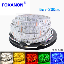 5050 RGB Strip High Quality Double Side PCB 1Roll 5M 300 LEDs Flexible lamp String Ribbon Tape Light For Indoor Decoration