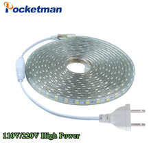 SMD 5050 AC110V 220V led strip flexible light 1M/2M/3M/4M/5M/6M/7M/8M/9M/10M/15M/20M +Power Plug 60leds/m Waterproof led light(China)