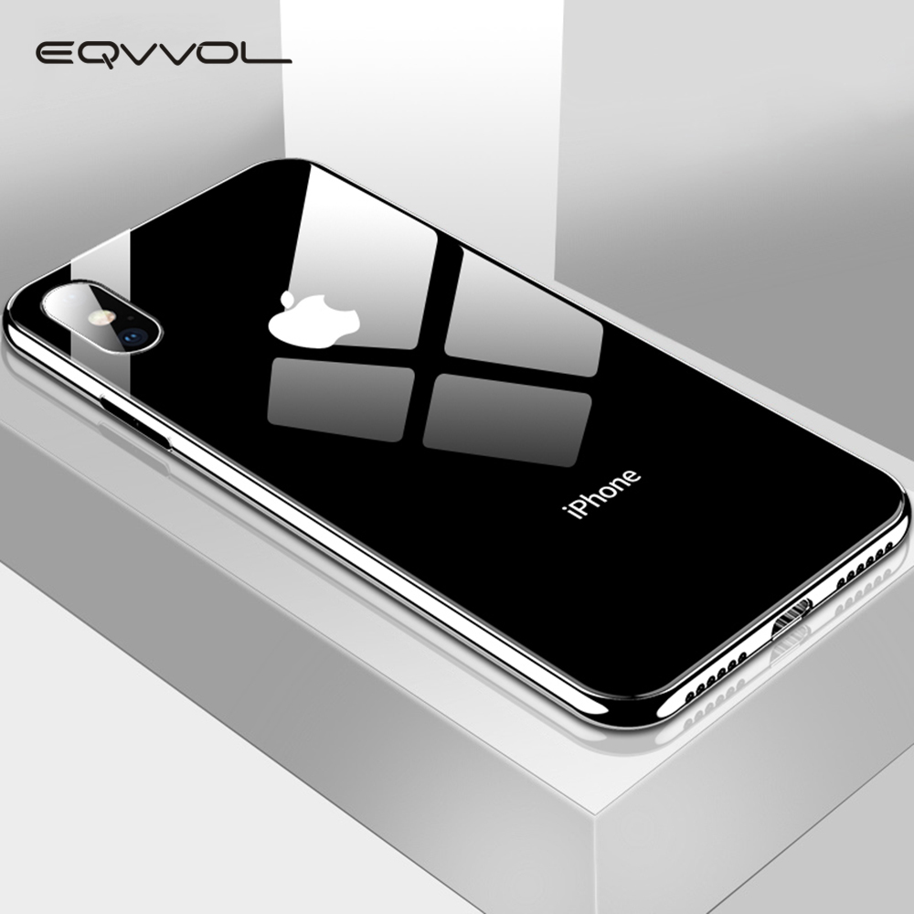 Eqvvol Plating Tempered Glass Phone Case For iphone XS Max XS XR X 8 7 Plus Cover Soft TPU Edge Cases For iphone 6S 6 Plus Coque(China)