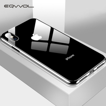 Eqvvol Plating Gehard Glas Telefoon Case Voor iphone XS Max XS XR X 8 7 Plus Cover Soft TPU Edge gevallen Voor iphone 6 S 6 Plus Coque(China)