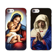 David Bless Virgin Mary Printing Phone Case For Iphone X 5S SE 6S Plus 7 7 Plus 8 8Plus Hard Frosted Phone Back Cover Capa Coque(China)