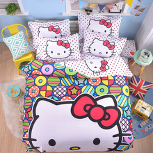 New fashion Cute Bedding Set Pokemon Hello Kitty 3-4pcs Cartoon Duvet Cover Bed Sheet Pillowcase for Kids Adults queen full size(China)