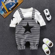 2017 Boys Gentleman Clothing Set Autumn Winter Overall Baby Grey Striped Rock Star Suspender Trouser + White Long Sleeve Tee Top