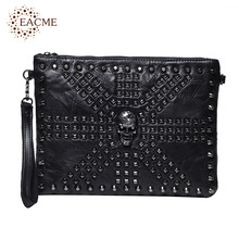 EACME Patchwork Thread Skull Envelope Bags Men Day Clutches Punk Rivets PU Document Wristlet Handbag Messenger Shoulder Bag HOT(China)
