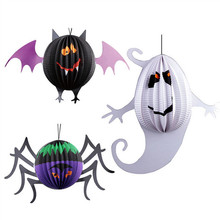 3Pcs/lot Halloween Decoration Halloween Paper Lantern Bat Spinder Ghost Shape Lantern Baby Shower Festive Party Supplies(China)