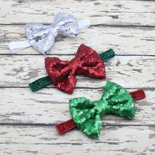 New Christmas Hair Bow Headband for little Girl gift Sequins Bow Elastic Headwrap Photo Prop Hair Accessories 6pcs/lot