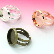 Buy 6Unids 12mm Child Adjustable Ring Blank Bezel Setting Tray Cabochons Antique Bronze/Silver/Rose Gold Diy Jewelry Fittings for $1.04 in AliExpress store