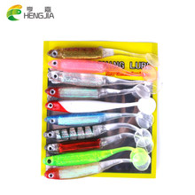 HENGJIA 10pcs Pesca Artificial Fishing Lure 52g/lot Soft Lure Japan Shad Worm Swimbait Jig Head Fly Fishing Silicon Rubber Fish(China)