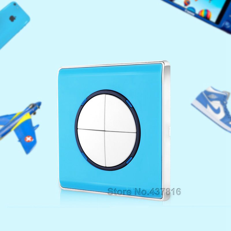 Colorful Blue Click Switch,4 Gang 1 Way, Pressure Switch Light Wall Switch Push Button Switch LED Nightlight<br><br>Aliexpress
