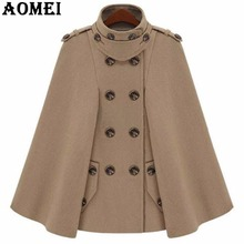 Fashion Camel Color Woolen Coats Cloak for Women Workwear Winter Office Lady Outwear Double Button 2017 New Autumn Overcoat Cape(China)