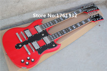 Popular factoroy custom double neck glossy red electric guitar  with 12 strings and 6 strings,can be changed as request