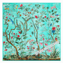 130*130cm Women Fashion Twill 100% Silk Euro Brand Flower and Birds Forest printed Square Scarf Print Hot Sale Femal Wrap unique