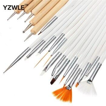 YZWLE 20Pcs/Pack Nail Art Decorations Brush Set Tools Professional Painting Pen for False Nail Tips UV Nail Gel Polish 41
