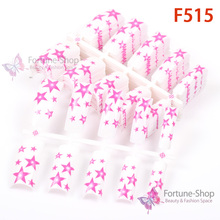 100pc/lot artificial nail tips with falling stars red pattern white body F515(China)