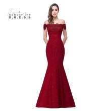 In Stock Elegant Beads Lace Mermaid Long Evening Dress 2017 Cheap Red Prom Dresses Robe De Soiree Off The Shoulder Party Dress